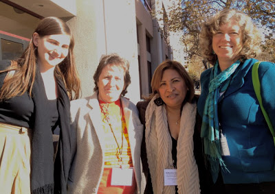 From left to right: Translator (name unknown), Maria Reyes of the National Domestic Workers Alliance, Guillermina Castellanos of the National Day Labor Organizing                            Network, panel moderator Kathy Coll of Stanford University. Photo by author.