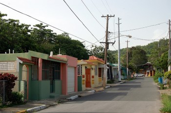 Colorful houses on a street in Puerto Rico.
