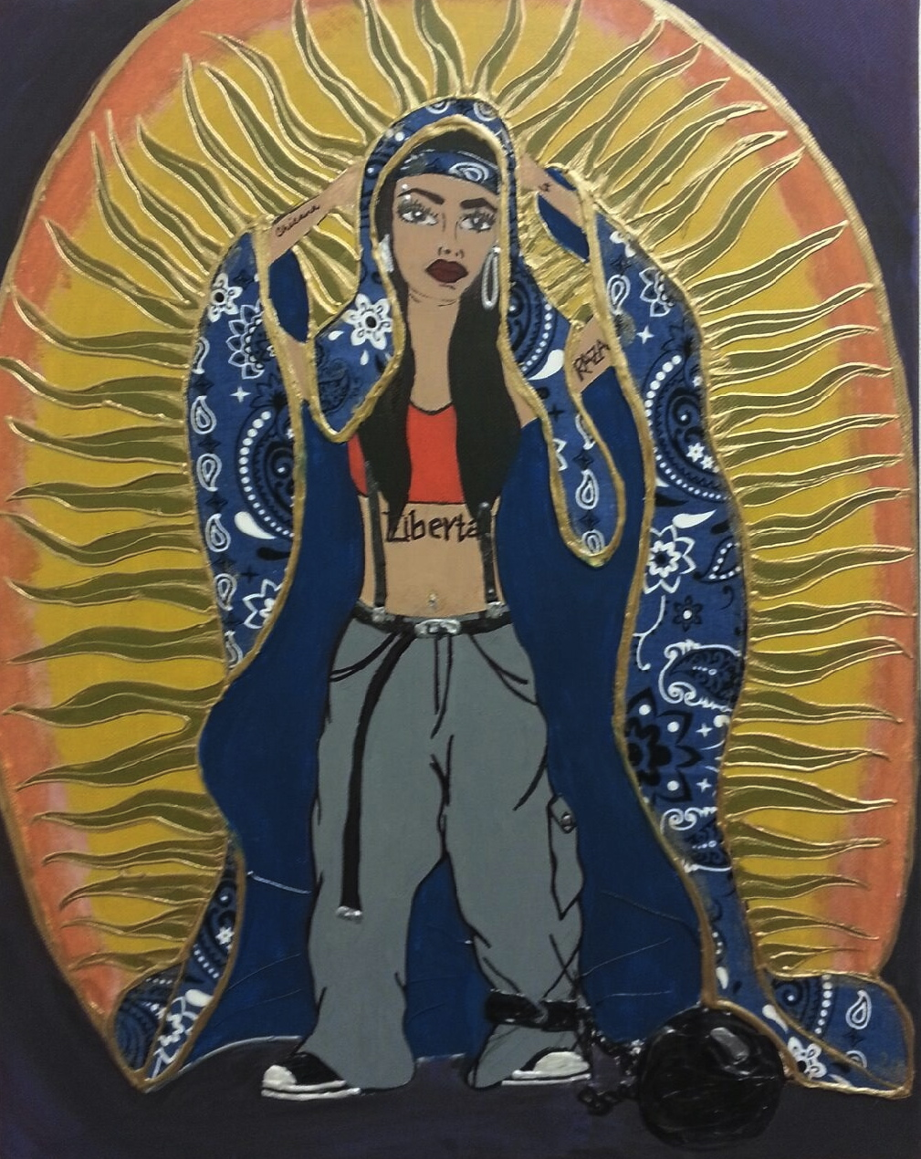 Image of Virgin of Guadalupe as young contemporary woman in neighborhood.
