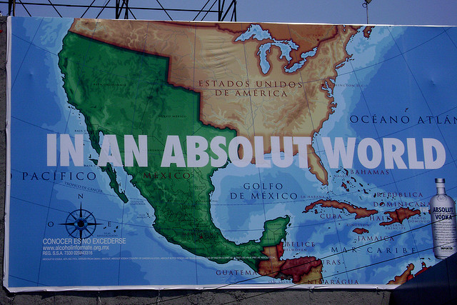billboard for absolut vodka depicting pre 1848 map of americas