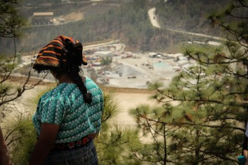 A member of the catholic parish, an indigenous Mam woman facing towards the marlin mine. Photo credit: Matthew Kok.