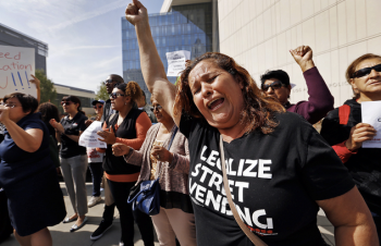 In this image you see street vendors and their allies protest outside the LAPD headquarters. See full story here by Mejia here: http://www.latimes.com/local/lanow/la-me-ln-street-vendor-protest-20150331-story.html