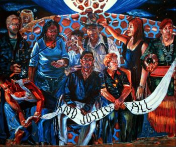 Painting of participants with arms linked at Standing Rock camp.
