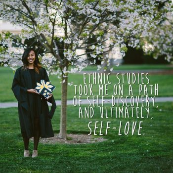 Filipina woman in graduation gown with caption on how Ethnic Studies taught her self-love